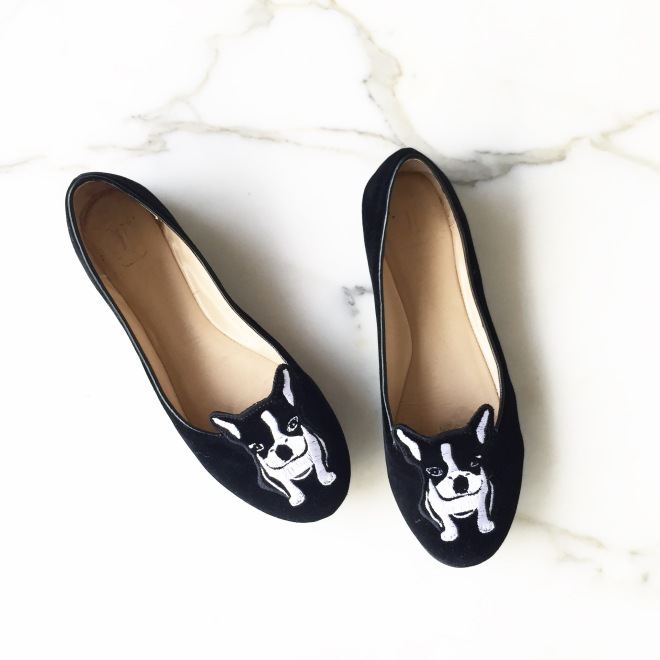 Frenchie flats, Kerrie Hess Illustration, Ballettonet
