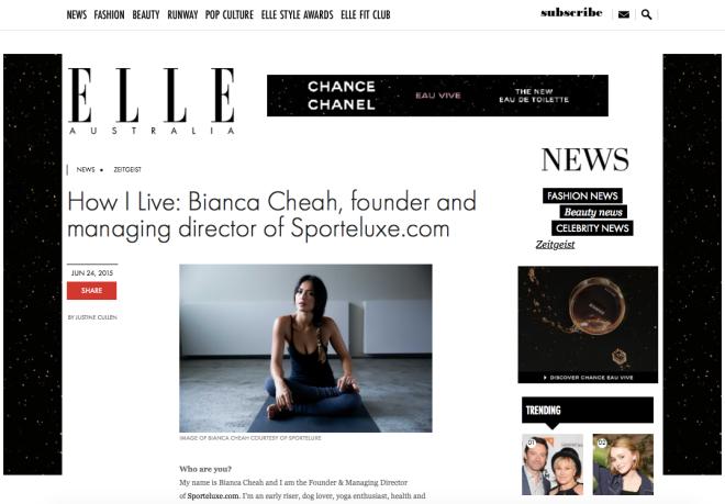 Bianca cheah interview Elle