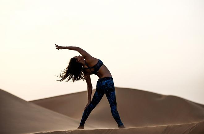 Bianca Cheah, Bandier Fit, UAE, Qasr Al Sarab, desert, sand dunes