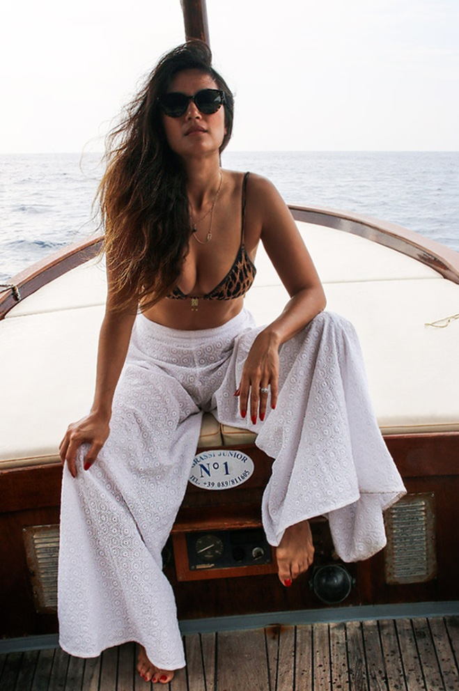 Bianca Cheah, Tigerlily leopard bikini, white tigerlily flared pants